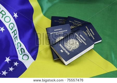 New Brazilian Passport and the flag of Brazil as the background