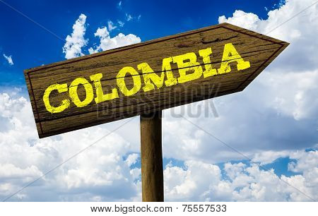 Colombia wooden sign on a beautiful day