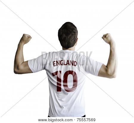 English soccer player celebrates on white background