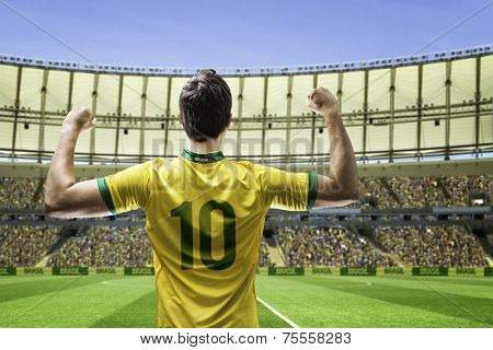 Brazilian soccer player celebrates with the fans on the stadium