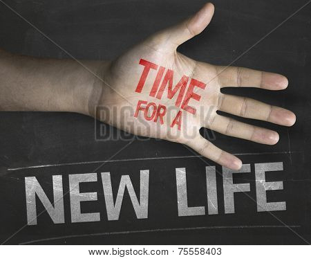 Educational and Creative composition with the message Time for a New Life