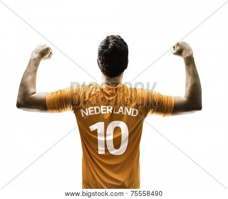 Dutch soccer player celebrates on white background