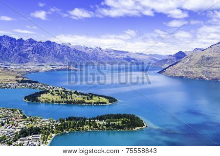 Aerial View of Queenstown in New Zealand, South Island