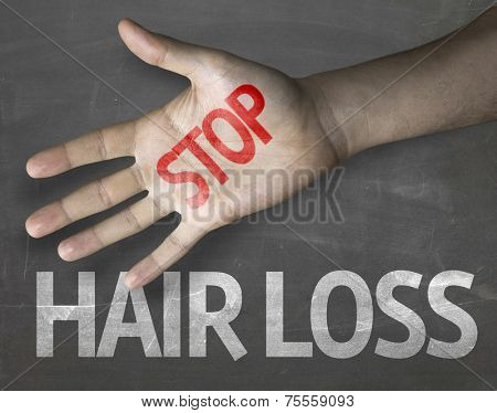 Educational and Creative composition with the message Stop Hair Loss on the blackboard