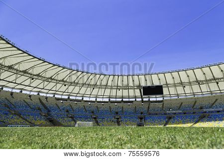 RIO DE JANEIRO, BRAZIL - CIRCA NOV 2013: The new Maracana Stadium on November 03, 2013 in Rio de Janeiro, Brazil. Maracana was remodelled for the 2014 World Cup.