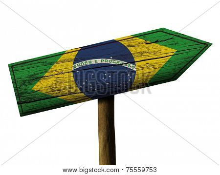 Brazilian wooden sign isolated on white background