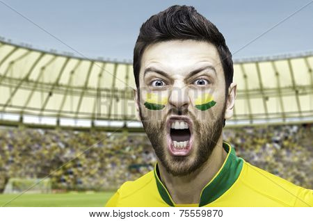 Brazilian soccer player celebrates on the stadium