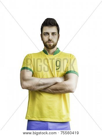 Brazilian soccer player looks serious on white background