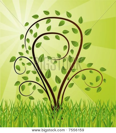 Green background with tree drawing
