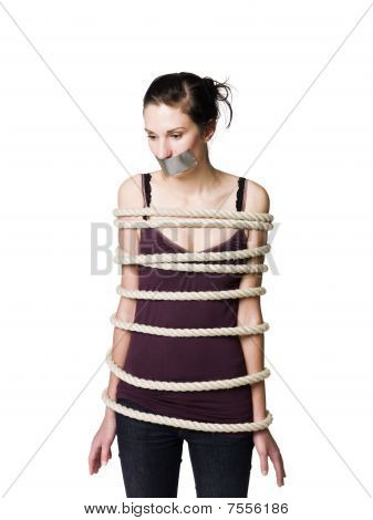 Woman tied with a rope