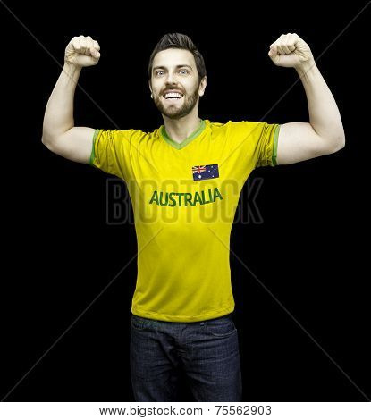 Aussie fan celebrates on black background