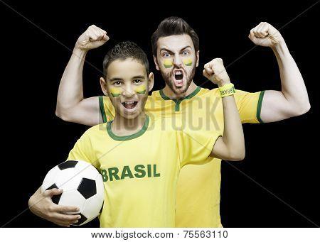 Brazilian fans celebrate on black ackground