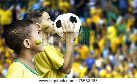 Two brazilian fans on the stadium