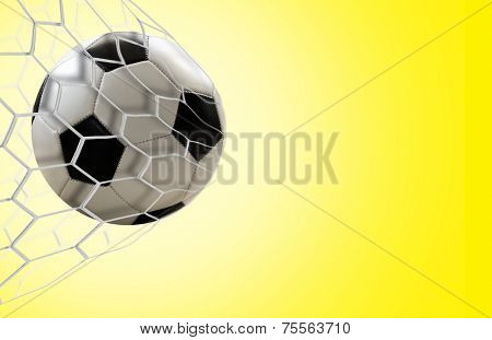 Soccer goal on yellow background
