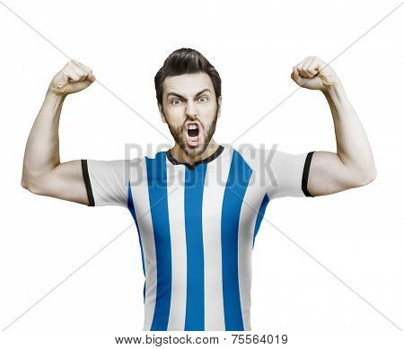 Argentinian soccer player celebrates on the white background