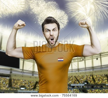 Dutchman soccer player celebrates on the stadium