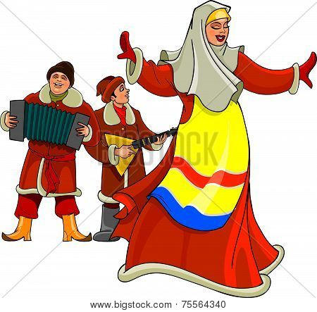 In The Russian National Dress Dancing Woman, Men Play The Accordion And Balalaika.eps