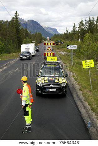 Repair of roads in mountains of Norway