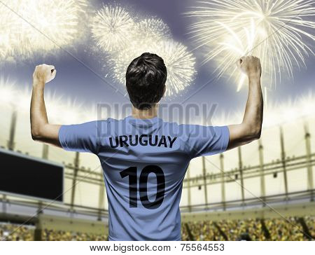 Uruguayan soccer player celebrates on the stadium