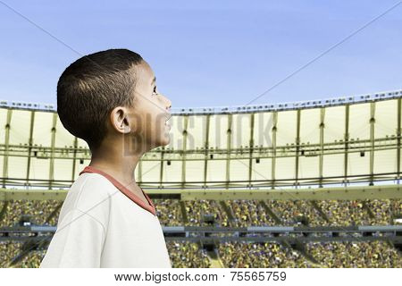 American little boy in the stadium