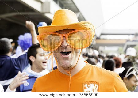 SAO PAULO, BRAZIL - CIRCA JUL 2014: Dutch people arrive at Arena Corinthians to watch Netherlands x Argentina for the World Cup
