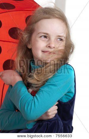 Dynamic Portrait Of A Happy Girl