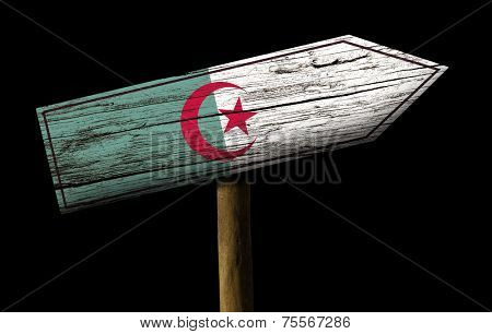 Algeria wooden sign isolated on black background