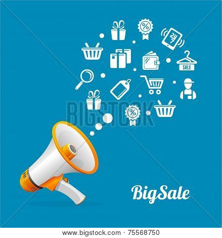 Vector Megaphone and icon. Big sale concept