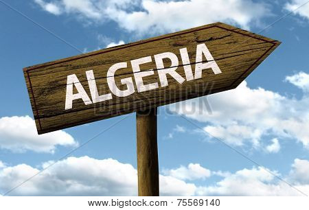 Algeria wooden sign on a beautiful day