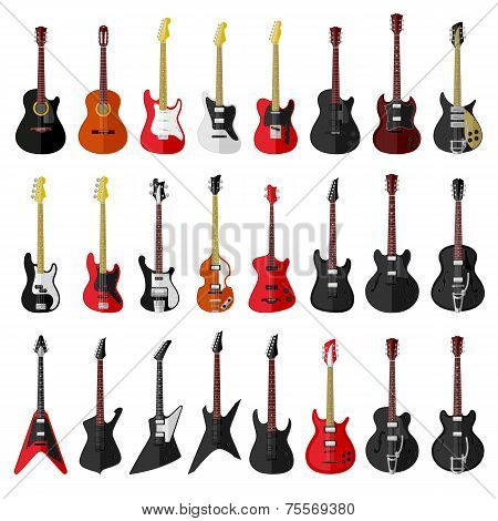 Set of isolated vintage guitars. Flat design