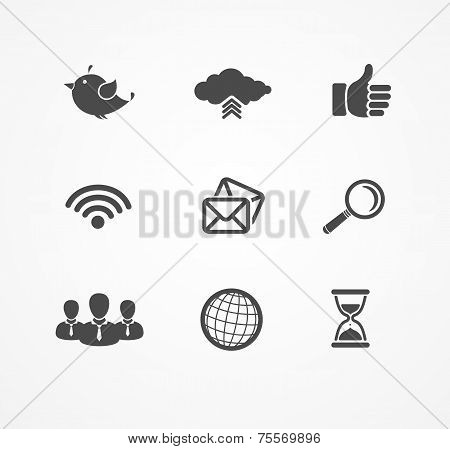 Set of social network icons in black silhouette.