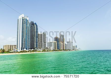 Jade Beach in sunny isles beach  and skyscraper