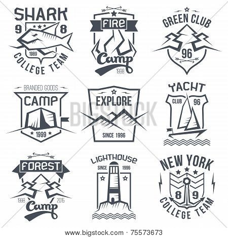 Vintage Camping And Sporting Badges