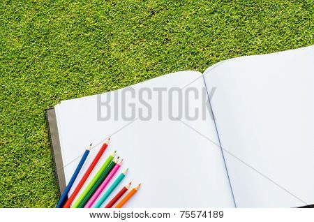 Color Pencil And Sketchbook On Fresh Spring Green Grass