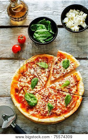 Pizza With Bacon, Mozzarella And Spinach