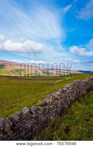 Green Countryside Landscape In Yorkshire Dales National Park, United Kingdom