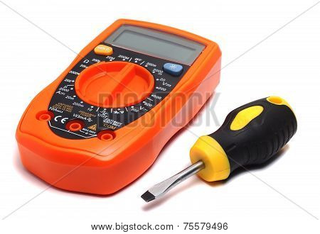 Orange Multimeter And Direct Screwdriver