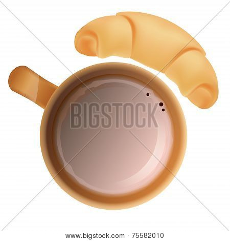 Cup Of Cocoa And Croissant