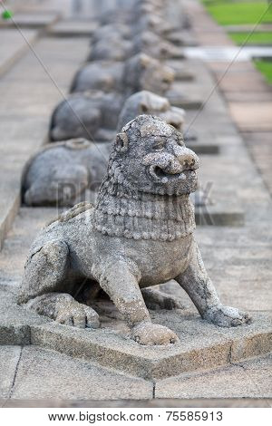 Sculptures Of Lions. Colombo, Sri Lanka