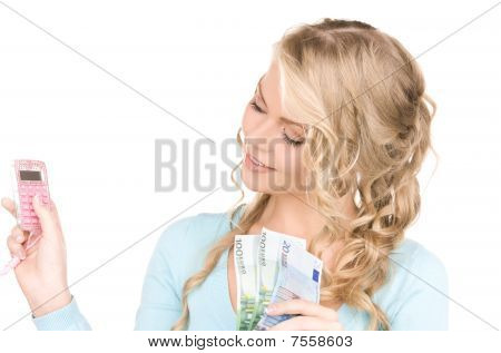 Happy Woman With Calculator And Money