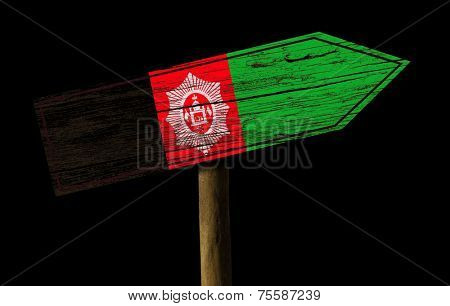 Afghanistan wooden sign isolated on black background