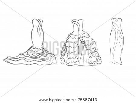 art sketching of vector set bride dresses, sketchy