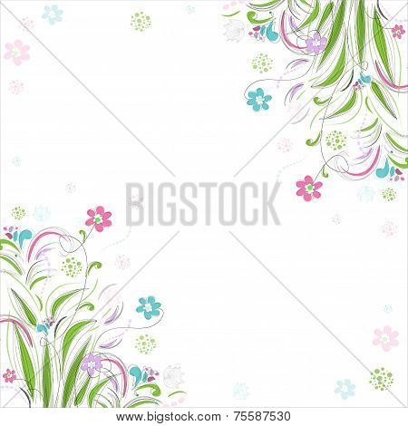 Vintage floral background. Beautiful frame with flowers