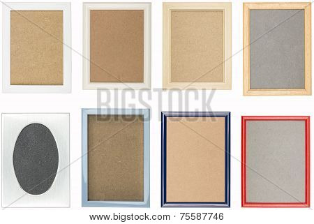 Collection Of Old Used Picture Frames With Different Backgrounds, Isolated On White