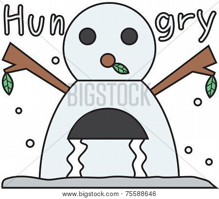 vector winter snowman face cartoon emotion expression hungry