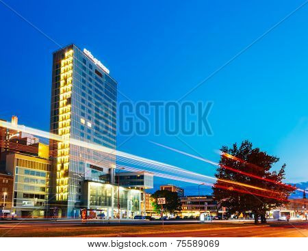Night View Of City Plaza In Tallinn, Estonia