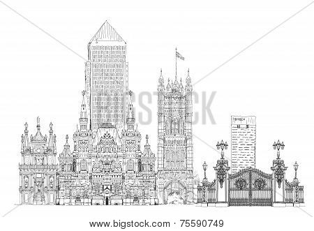 Famous buildings of the world, Sketch on Canary Wharf, Buckingham palace gate, Parliament tower inLo