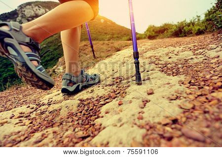 woman hiker hiking on trail