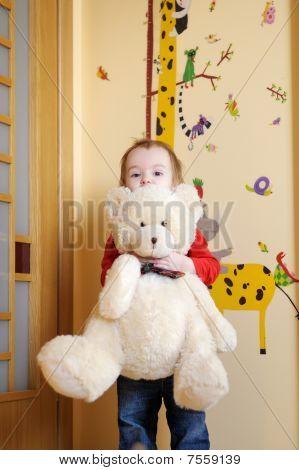 Little Girl Holdin Her Teddy Bear