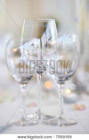 Three Wine Glasses On A Festive Table